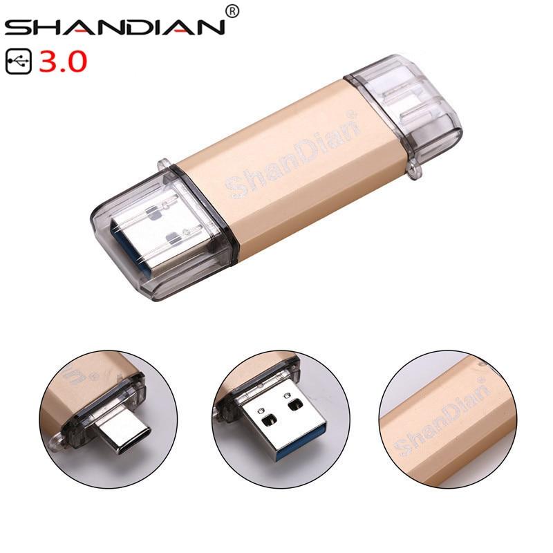 SHANDIAN USB 3.0 Promotions Type-C 3.1 OTG 32GB 64GB External Storage Memory Stick 16GB 64GB Mobile Computer USB Flash Drive