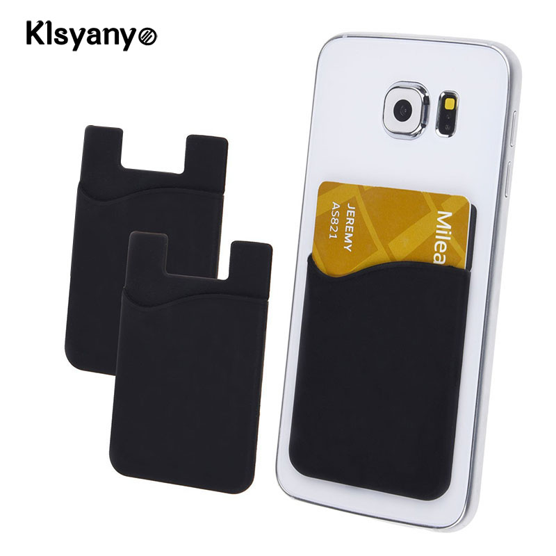 Klsyanyo 2pcs/lot Adhesive Sticker Back Cover Card Holder Small Bus Card Case Pouch For Cell Phone