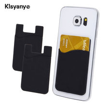 Klsyanyo 2pcs/lot Adhesive Sticker Back Cover Card Holder Small Bus Card Case Pouch for Cell Phone(China)