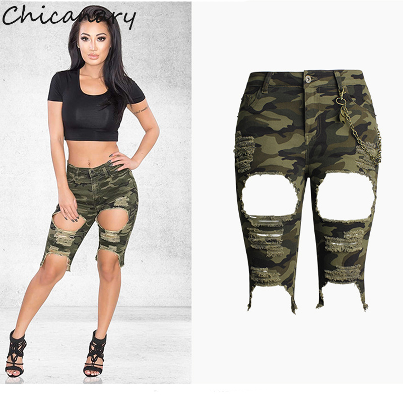 Chicanary Camouflage Distressed Hole Denim Shorts High Waist Stretch Medium Length Jeans with Link XXXL