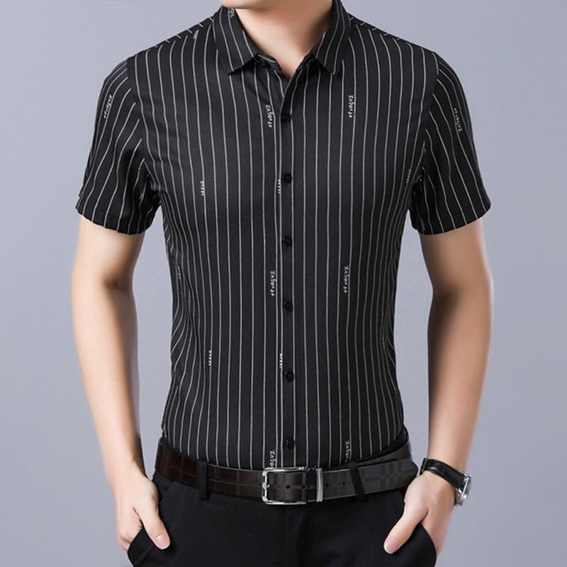 Men's shirts summer new men's fashion wild lapel quality striped short sleeved shirt men's business casual professional shirt