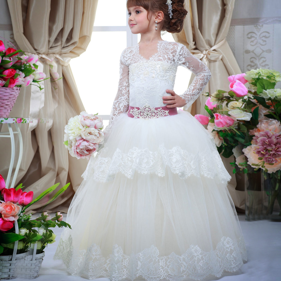 Elegant First Communion Dresses Infant Appliques Long Sleeves Crystal Lace Up Tiered Pageant Little Princess Tulle Ball Gowns 12 blue pageant dresses for little girls a line spaghetti straps solid appliques crystal lace up flower girl first communion gowns