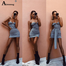 Aimsnug Boho New Slash neck Plaid Stripe Women's Bodycon dress High waist Summer Spaghetti Strap Knot Shoulder Female the dress цена 2017