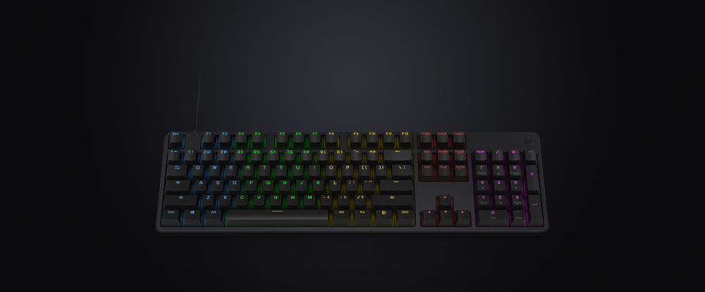 Original Xiaomi Mi Gaming Keyboard 104 Keys Key Without Punch LED Backlit Backlight USB Wired Aluminum alloy For Overwatch Dota2 (1)