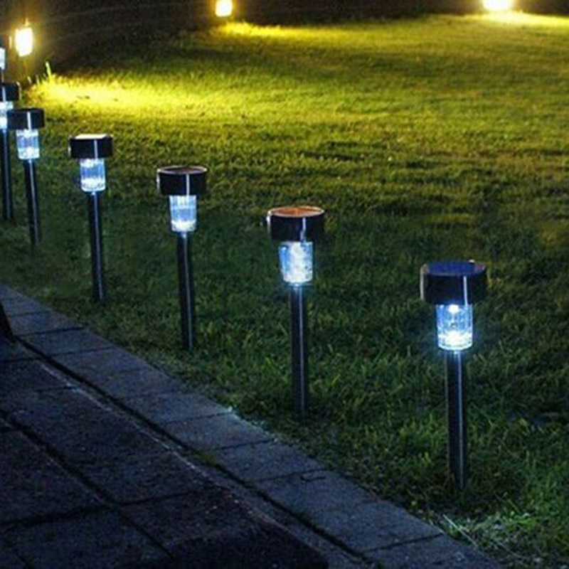 1pc/2pcs/10 Pcs Outdoor Solar Powered Path LED Light Stainless Steel Lamp For Patio Yard Landscape Garden Decoration CLH