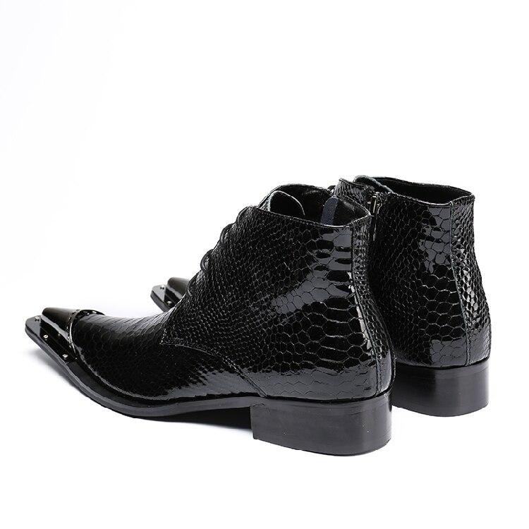 Vestir Patrón 2019 Cuero Superior Brillante Hecho Zapatos Hombre A Snakeskin Hombres Negro Head Beertola Metal Mano Más De Botas Boot Calidad Nuevo gTqnIpdI