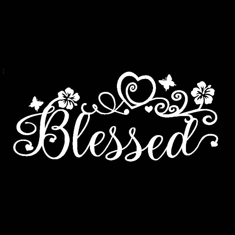 QYPF 17.3cm*7.6cm Intricate Blessed Ribbon Faith Vinyl Flower Fish Window Art Sticker Decal Car Sticker C18-0591