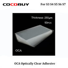 Novecel Free Shipping 50pcs/lot 250um OCA Optically Clear Adhesive Transparent Glue Laminated Plastic For Samsung s3 s4 s5 s6 s7