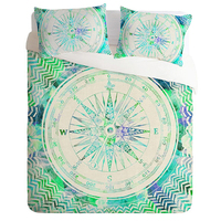 Home Textiles Personality Green Compass Pattern Print Bedding Sets Contain Sheet Pillowcase Hot Sale Comforter Bed Sets 3 pcs