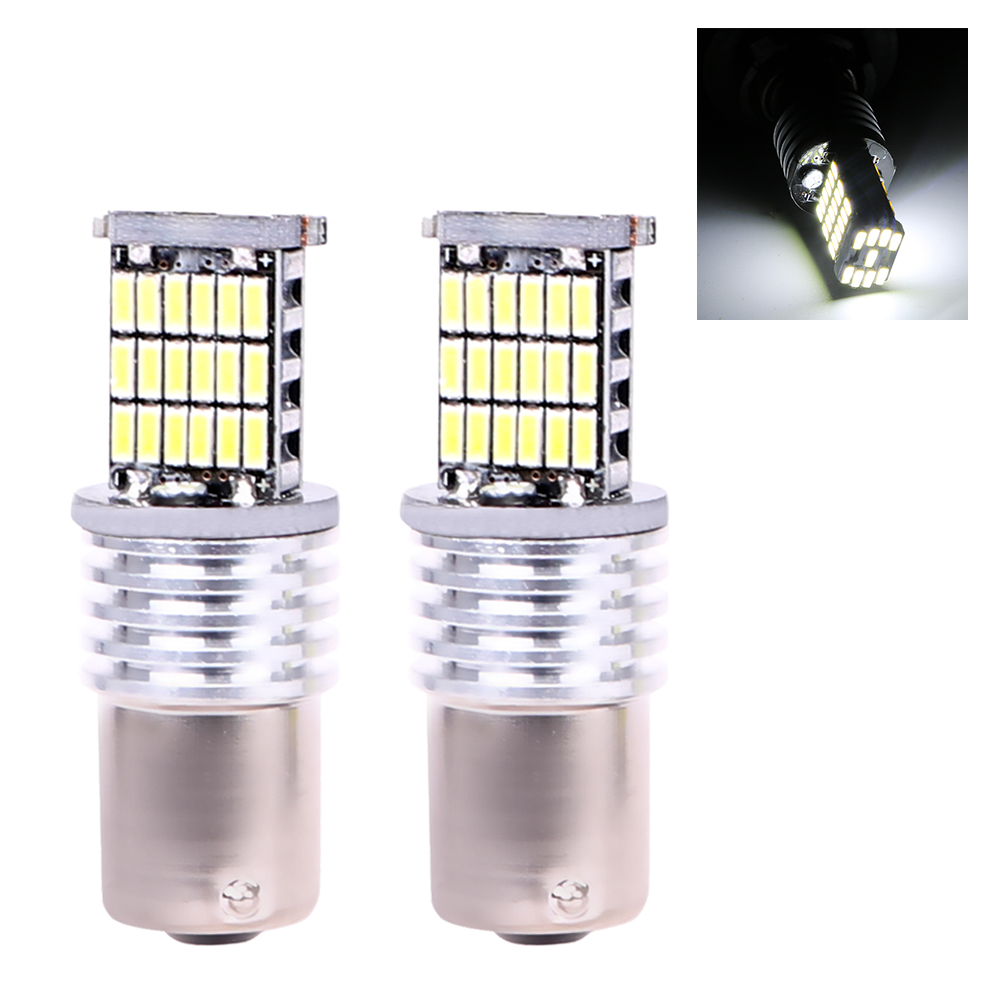 ITimo Tail Brake Lamp 1 Pair BA15S 1156 4014 45SMD DRL Canbus Universal Auto Interior Light White Car LED Turn Signal Bulb cawanerl car canbus led package kit 2835 smd white interior dome map cargo license plate light for audi tt tts 8j 2007 2012