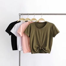 Tie Front O-Neck Short Sleeve T Shirt