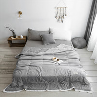Simple style Pure Color Summer Quilt Bedspread Blanket gray Comforter soft Bed Cover Twin full Queen Quilting solid bedclothes