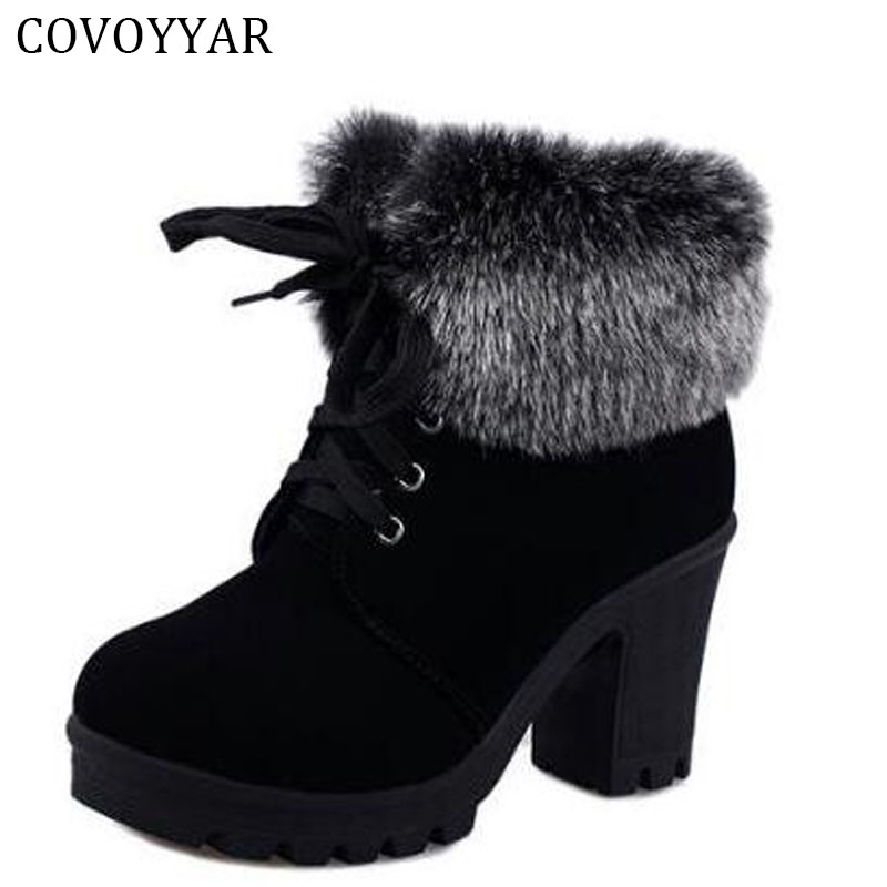 COVOYYA 2018 Autumn Winter Ankle Boots Women Fur Cuff Thick Heel Motorcycle Combat Boots Platform Lace Up Women Shoes WBS226 ...