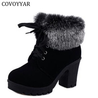 2016 Autumn Winter Ankle Boots Women Fur Cuff Thick Heel Motorcycle Combat Boots Platform Lace Up