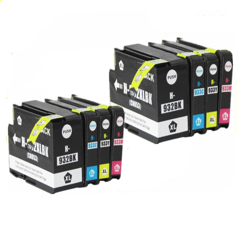 8 x Compatible for HP 932 933 Ink Cartridges 932XL 933XL OfficeJet 6100 6600 6700 7110 7610 7612 hp932 hp933 Printer With chips 8 pieces lot 932 933 auto reset chip show ink level for hp officejet pro 7512 7612 7510 6600 6100 7110 7610 printer