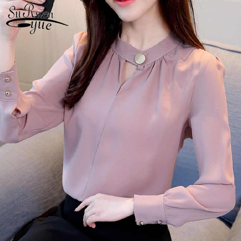 5306ab061ebb ... Модная женская блузка 2019 с длинным рукавом Синяя женская шифоновая блузка  рубашка OL Блузка женские Топы ...
