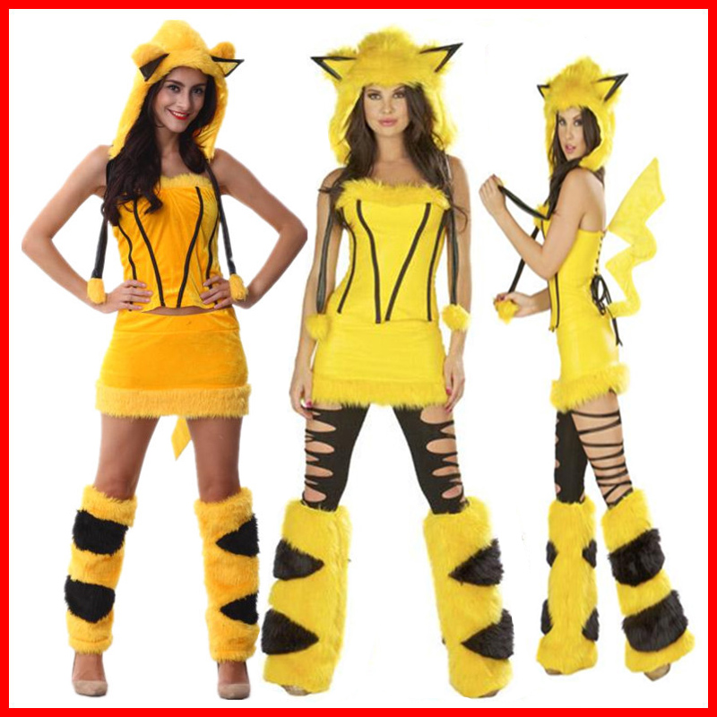 2018-adult-font-b-pokemon-b-font-pikachu-dress-female-sexy-skirt-role-playing-fur-animal-cosplay-costumes-halloween-little-devil-cos-clothing