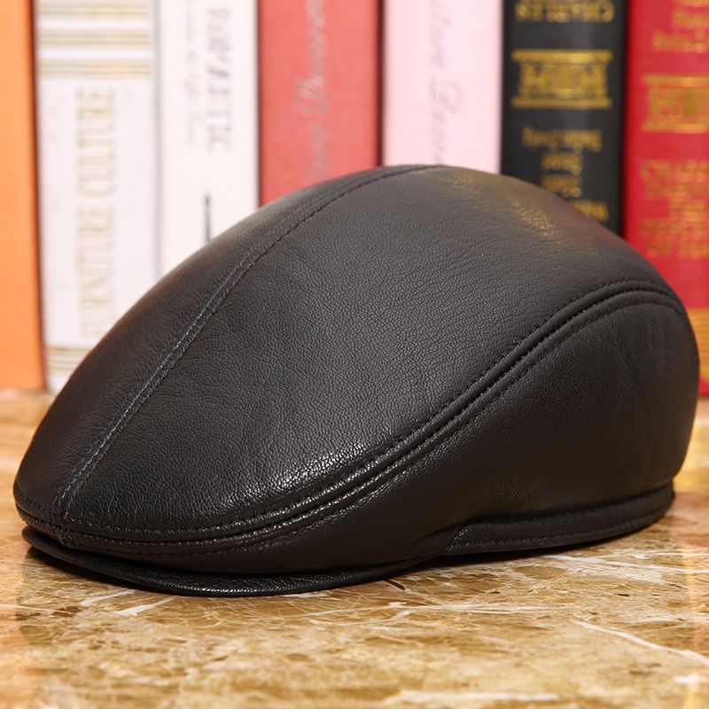 2019 new men natural Sheepskin beret Male Genuine Leather Visors Hat Men's Winter Warm Cap Men Ear Protection Duck Tongue(China)