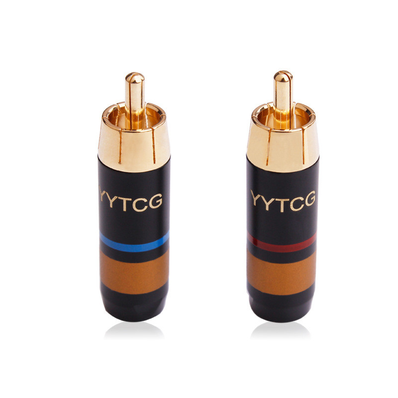RCA Jack Connector Pure Copper Gold Plating Audio RCA Cables Male Adapter Socket RCA Speaker Terminal Acoustics Connectors Hifi
