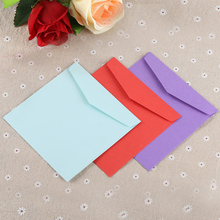 10pcs / lot Solid Color Double-Paste Paper Square Envelope Red European-Style Wedding Invitation Blue Purple Pink