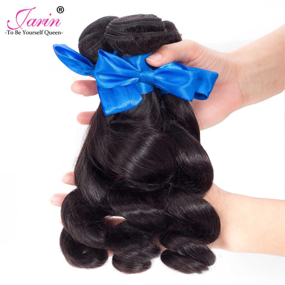 Jarin волос перуанской свободной волны с закрытием 3 Связки с 13*4 Бесплатная часть средней части уха до уха кружева фронтальной Волосы remy 8-28