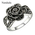 Nandudu Vintage Classic Flower Rings Gold Plated Black Cubic Zirconia Female Ring Jewelry Gift R258