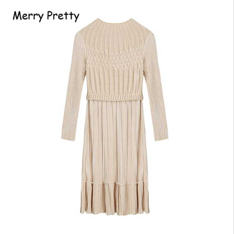 MERRY PRETTY Women Warm Knitted Dresses 2018 Autumn Long Sleeve O Neck A Line Dress Vintage Female Solid Patchwork Sweater Dress
