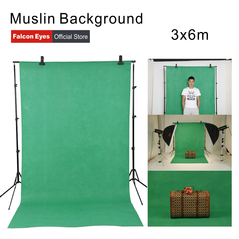 Falcon Eyes 3x6m Photography Muslin Background Screen Cotton Chroma Key Backdrop (Green and Blue)
