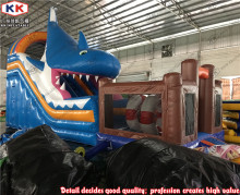 New attractive inflatable shark bouncer slide combo, air bouncer inflatable trampoline