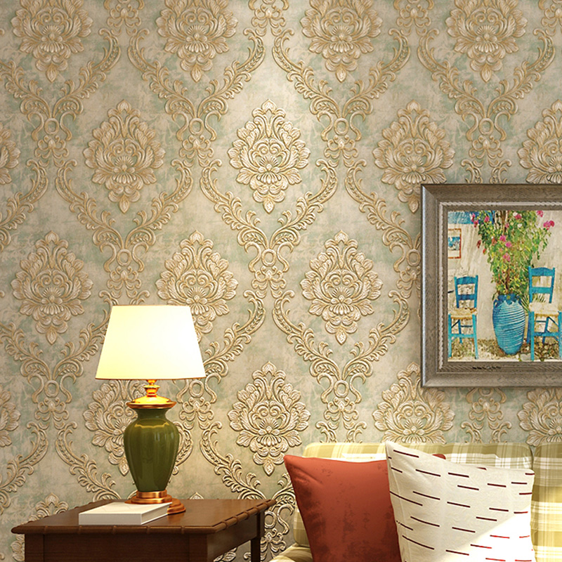 European Style Non-woven Stripes Damask Wallpaper For 3D Stereo Embossed Bedroom Living Room Background Wallpaper AB Collocation