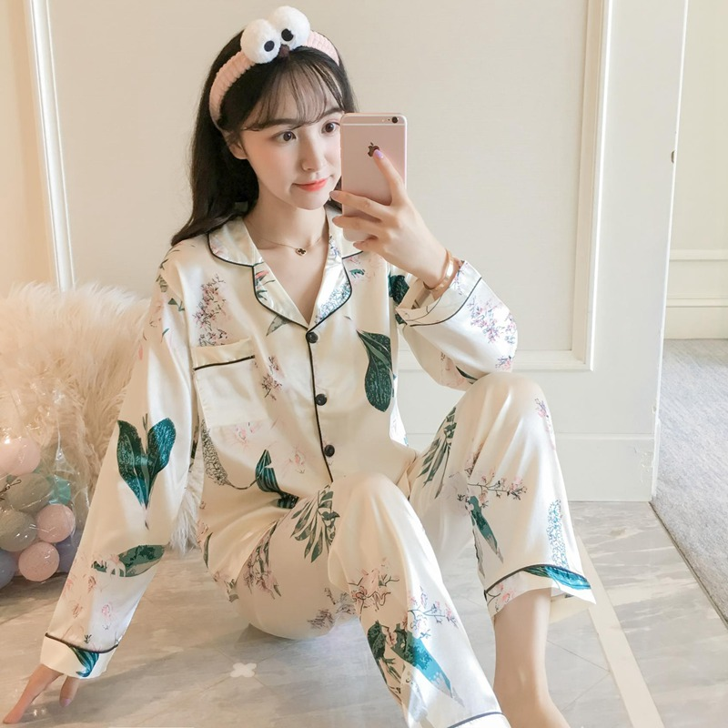 2019 Autumn Silk Satin Floral Print   Pajamas     Sets   for Women Long Sleeve Pyjama Sleepwear Loungewear Homewear Pijama Mujer Clothes