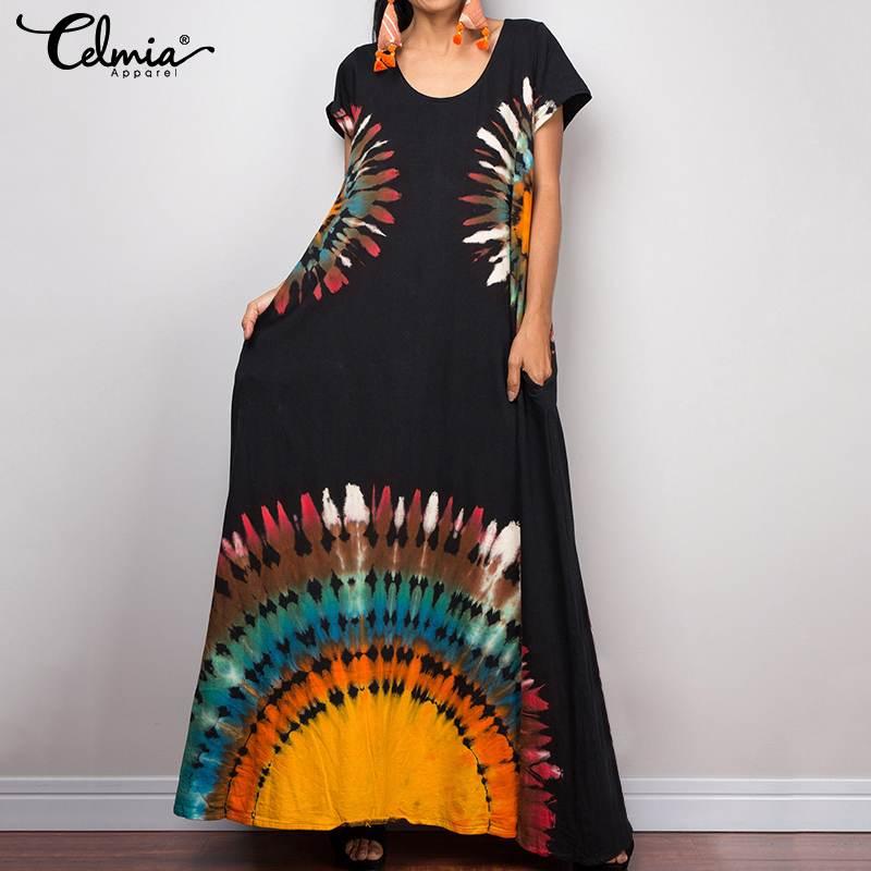 2019 Celmia Summer Women Vintage Print Long Shirt Dress Short Sleeve Casual Loose Holiday Maxi Dress Plus Size Robe Vestiods 5XL