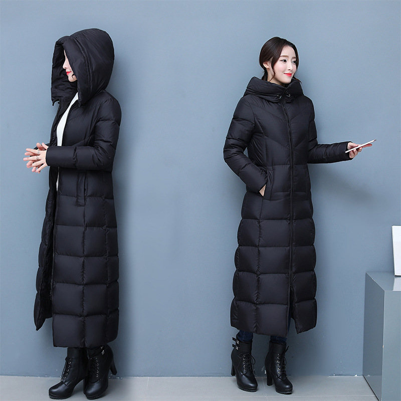 Women's Down Jacket X-Long Black   Parka   Hooded Winter Jacket Women White Duck Down Jacket Maxi Womens Coats Doudoune Femme C3839