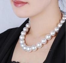 classic huge 12-13mm south sea round white pearl necklace 18inch