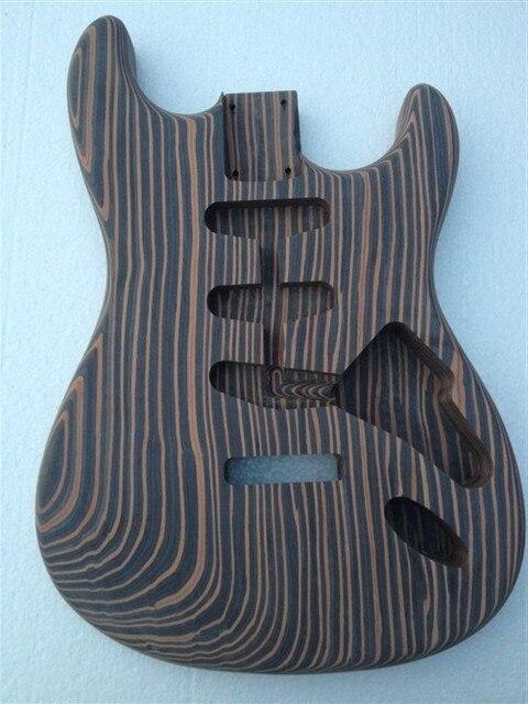 one piece wood zebrawood guitar body no finish painting good grain