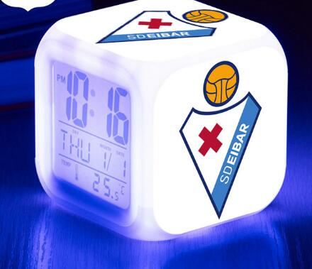 Sociedad Deportiva Eibar LED Alarm Clock La Liga soccer/Football 7 color Flash Digital clock Toy 2017 Xmas Gifts Free Shipping