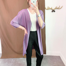Plus Size Cardigan Women Summer 2019 New Miyake Pleated Long Coat Solid Color Loose V-Neck Three Quarter Sleeve Cardigans