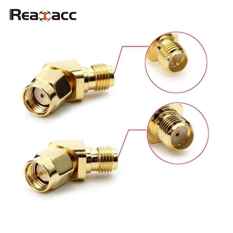 1 piezas Original Realacc 45 grados antena adaptador de conector SMA macho RP-SMA para RX5808 0 Fatshark gafas auriculares