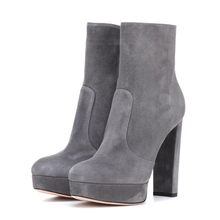 Kid Suede Leather Fashion Mid Calf Boots For Women Shoes Round Toe High Square Heel Botas Mujer Platform Boots TL-A0226 недорого