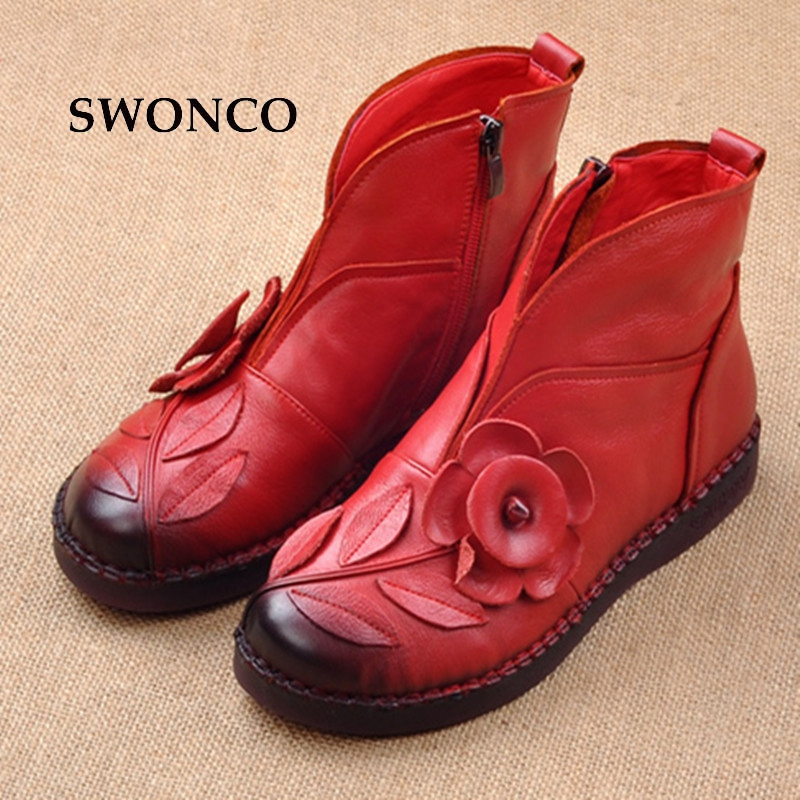 SWONCO 2018 Autumn Winter Women Shoes Retro Flower Ankle Boot Genuine Leather Ladies Boots Ankle Boots For Women Fur Woman Boot women ankle boots handmade genuine leather woman boots autumn winter round toe soft comfotable retro boot shoes female footwear
