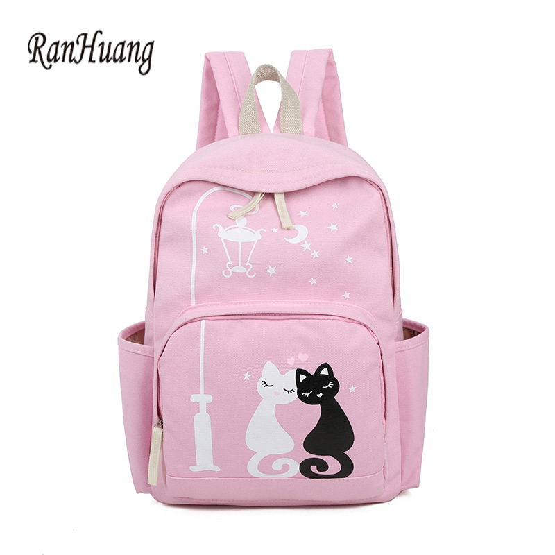 RanHuang Women Canvas Backpack Cute Cat Printing Backpack School Bags For Teenage Girls  ...