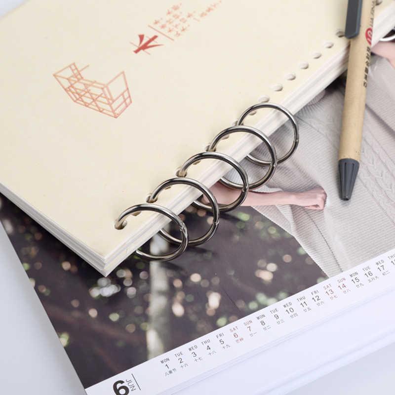 5 Buah Logam Loose Leaf Binder Buku Hinged Cincin Gantungan Kunci DIY Album Scrapbook Klip Logam Cincin Pengikat Kalender Meja Lingkaran