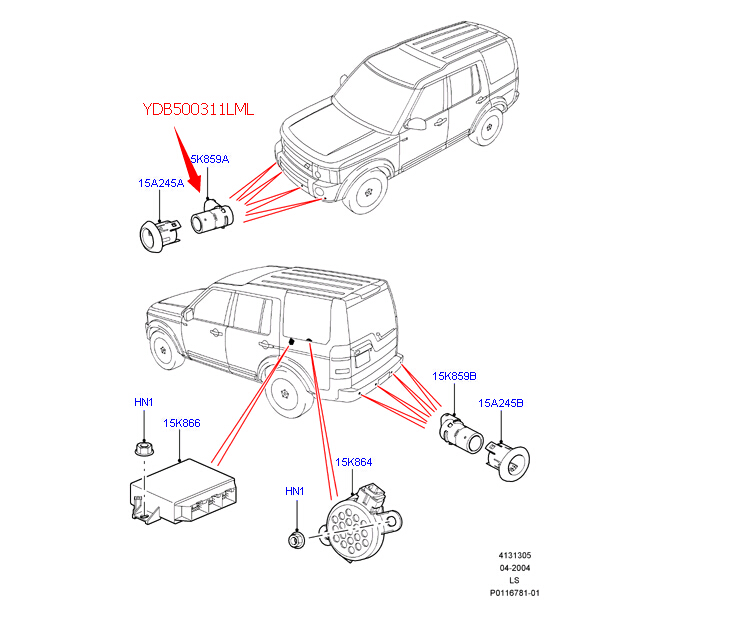 YDB500311LML hot selling car parking sensor front inner for LR Discovery 3 parking assistant system aftermarket parts supplier