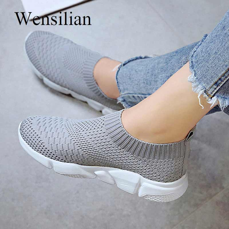 Fashion Sneakers Women Trainers Vulcanized Shoes Air Mesh Breathable Slip on Socks Shoes White Sneakers Black Zapatillas MujerFashion Sneakers Women Trainers Vulcanized Shoes Air Mesh Breathable Slip on Socks Shoes White Sneakers Black Zapatillas Mujer