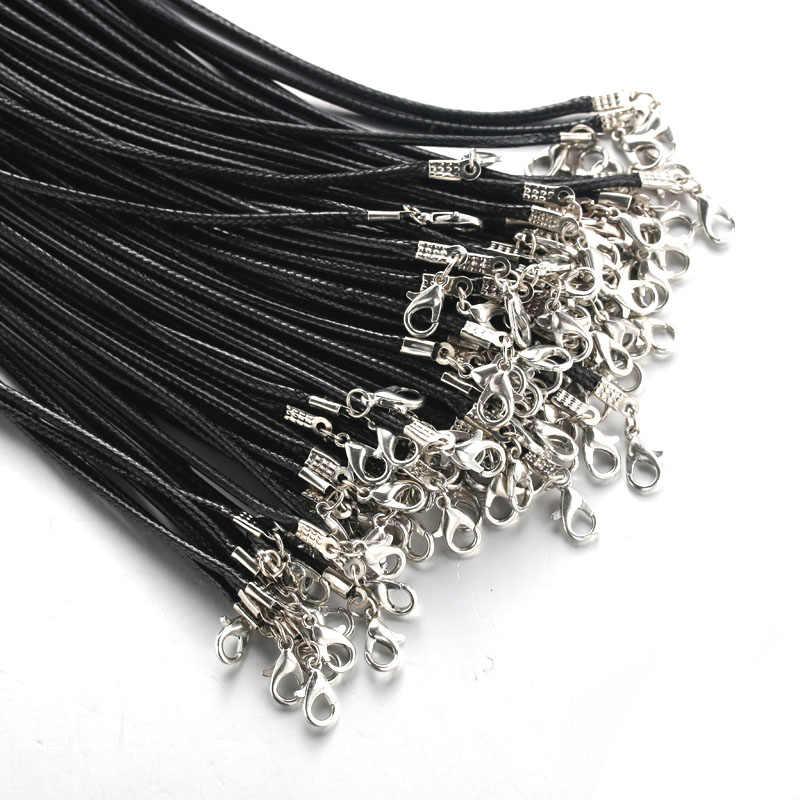 Czarny wysokiej jakości 60CM pleciona lina naszyjniki karabińczyk Rope Chain 20 sztuk/partia karabińczyk sznurek 9665
