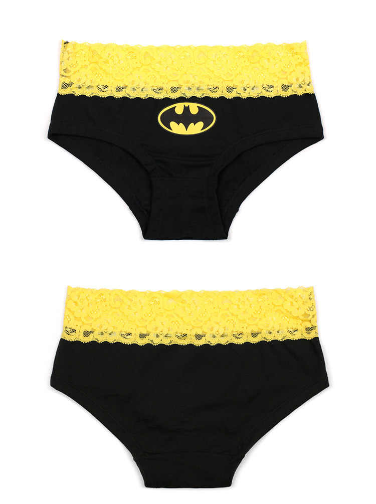 ae87e1397226 ... Black Yellow Mixed Color Batman Printed Lovers Underwear Couple  Underpants Sexy Lace Female's Panties U Convex ...