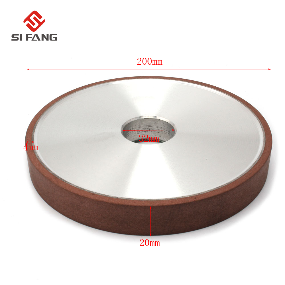 200mm diamant disque affûtage 150/180 grains plat résine liaison meules outil électrique pour carbure abrasif outils 200*20*32*4mm