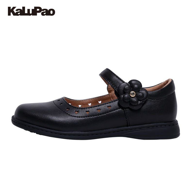 KALUPAO Newest Spring Autumn Princess Girls Shoes Kid Party Dress Shoes Fashion Flowers Black Leather School