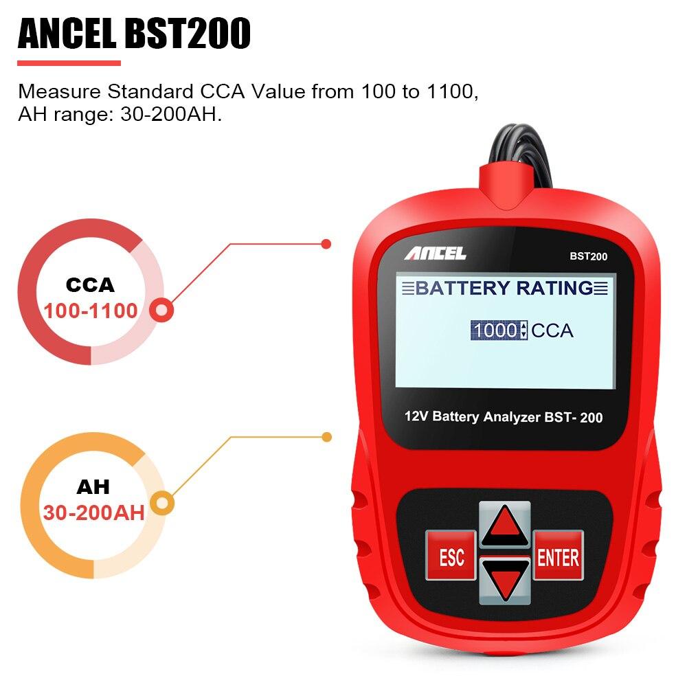 ANCEL Bst200 Voiture testeur de batteries Multi-langue 12 V 1100CCA système de batterie Détecter Automobile De Voiture Mauvais Cellulaire Batterie Outil De Diagnostic - 4