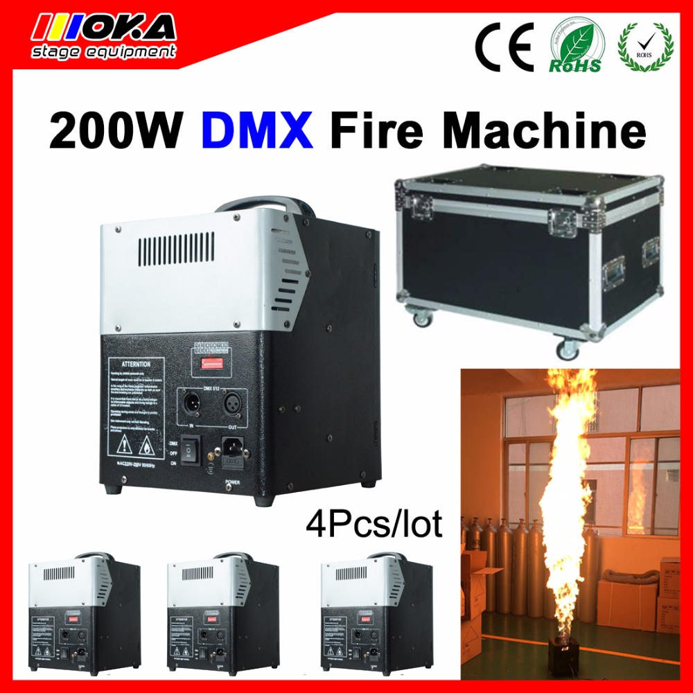 4 pcs/lot flight case packing high quality 200w Stage Effect Fire Machine Outdoor DMX Flame Projector for Stage Lighting
